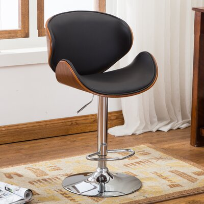 Famis Corp Bentwood Leather Adjustable Height Swivel Bar Stool