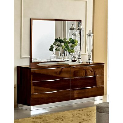 Noci Design 6 Drawer Combo Dresser with Mirror