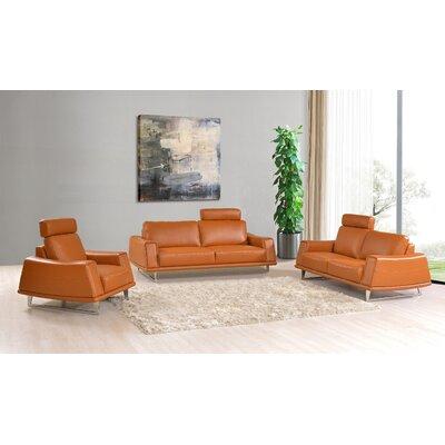 Noci Design Leather 3 Piece Living Room Set