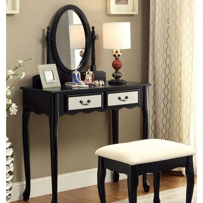 A&J Homes Studio Oreo Vanity Set with Mirror