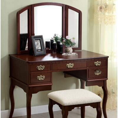 A&J Homes Studio Moon Vanity Set with Mirror