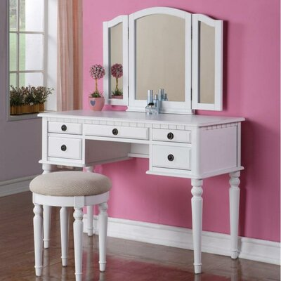 A&J Homes Studio Palmer Vanity Set with Mirror