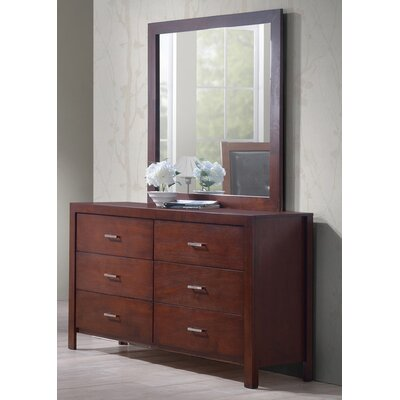 Best Quality Furniture 6 Drawer Dresser with Mirror