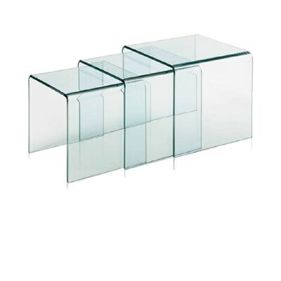 Fab Glass and Mirror 3 Piece Clear Bent Glass Ne..