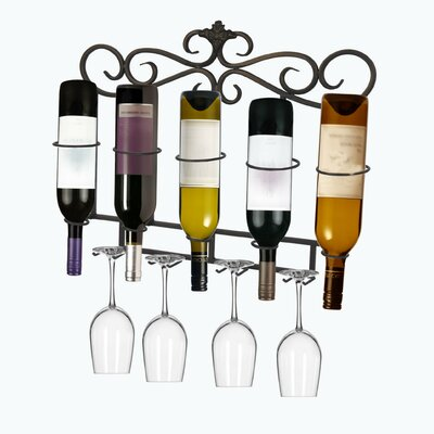 Homestyle Collection 5 Bottle Wall Mounted Wine Rack