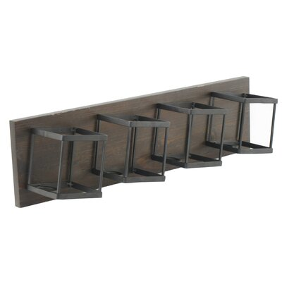 Homestyle Collection 4 Bottle Wall Mounted Wine Bottle Rack