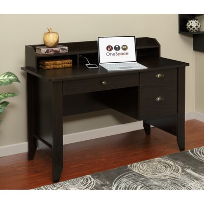 OneSpace Executive Desk with Hutch and Charger Hub and USB