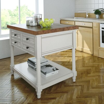 222 Fifth Furniture Park Slope Kitchen Island with Butcher Block Top