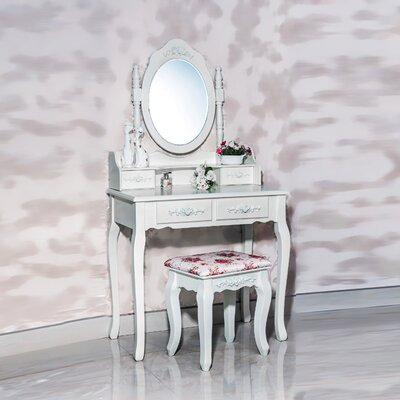 White Label Co. Nefertiti 4 Drawer Vanity Set with Mirror