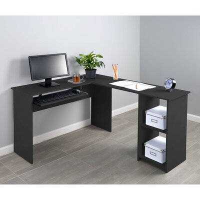 Fineboard Corner L-Shaped Computer Desk with Keyboard Tray