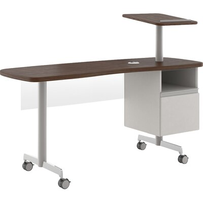 Kimball Office Computer Desk with Open File Pedestal