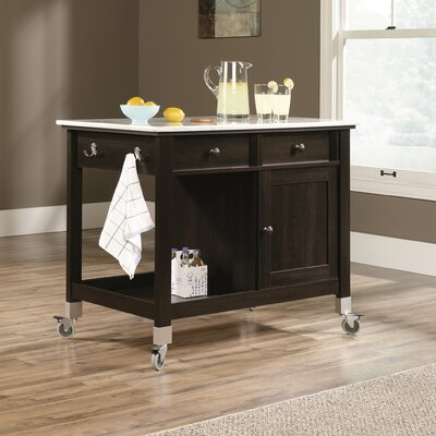 Sauder Miscellaneous Storage Kitchen Island with Faux Carrara Marble Top