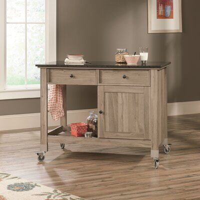 Sauder Miscellaneous Storage Kitchen Island with Faux Slate Top