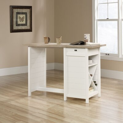Beachcrest Home Hampton Kitchen Island with Lintel Oak Top