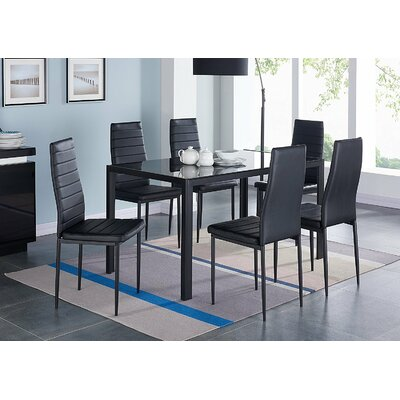 IDSOnlineCorp Modern Glass 7 Piece Dining Table Set & Reviews ...