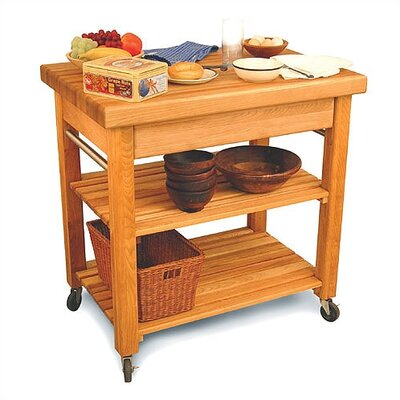 Catskill Craftsmen, Inc. French Country Kitchen Island with Butcher Block Top