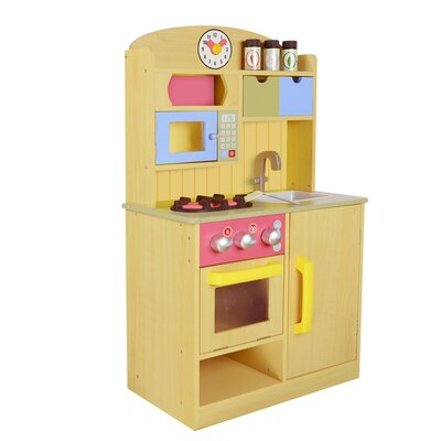 Teamson kids little chef wooden play kitchen with for Kids kitchen set sale