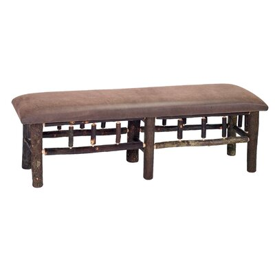 Fireside Lodge Hickory Leather Fabric Bedroom Bench