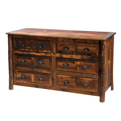 Fireside Lodge Premium Barnwood 6 Drawer Dresser