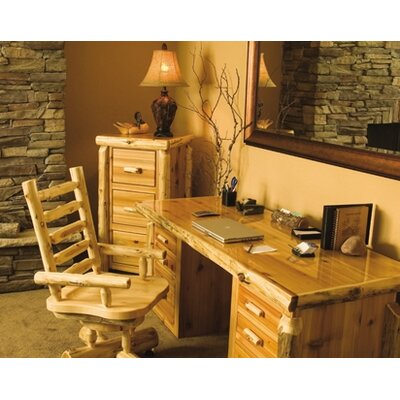 Fireside Lodge Traditional Cedar Log Executive Writing Desk and Chair Set