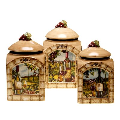 certified international tuscan view 3 piece canister set kitchen canisters tuscan food canisters tuscan style