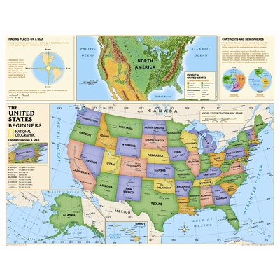 National Geographic Maps Kids Beginners USA Wall Map Grades K - Us map geographic image