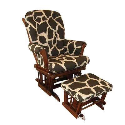 Cotton Tale Sumba Giraffe Print Swivel Glider and Ottoman