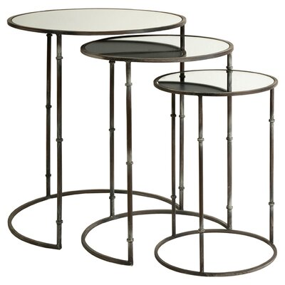 IMAX 3 Piece Flouressa Mirror Top Nesting Tables