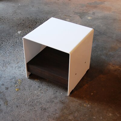 Sarabi Studio Plate Steel Cubic Table with Shelf