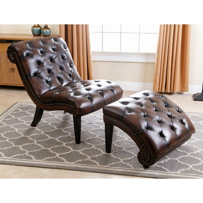 Darby Home Co Delbert Leather Chaise Lounge