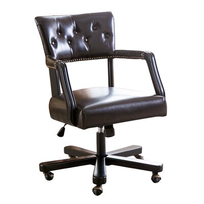 Rosalind Wheeler Ballinderry Leather Desk Chair