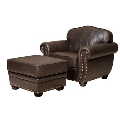 Darby Home Co Morgenstern Leather Armchair and O..