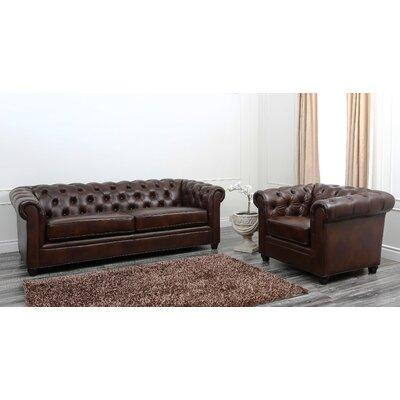 Charlton Home Molly Premium Italian Leather Sofa and Arm Chair Set