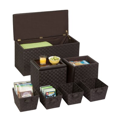 Honey Can Do 7-Piece Storage Ottoman & Basket Set Image