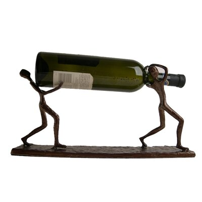 Danya B Two Men Carrying 1 Bottle Tabletop Wine Rack