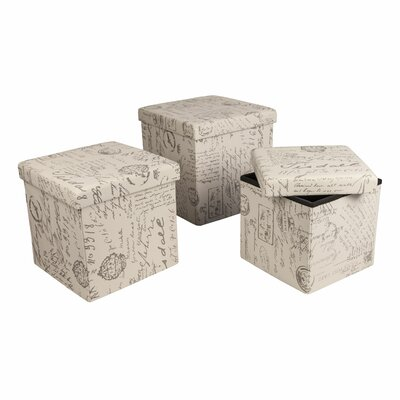 Lark Manor Morelle 3 Piece Folding Storage Ottoman Set