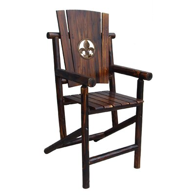Leigh Country Char-Log Fleur de Lis Medallion Bar Arm Chair I
