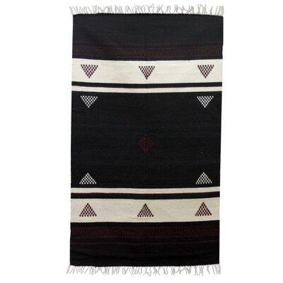 novica hand woven black white area rug wayfair. Black Bedroom Furniture Sets. Home Design Ideas