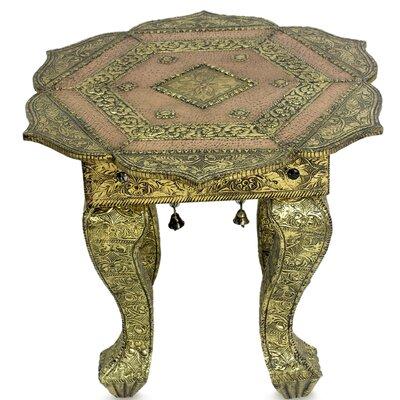 Novica Golden Lotus Brass End Table