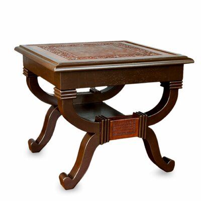Novica Fern Garland Mohena Wood and Leather End Table