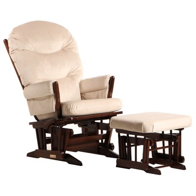 Dutailier Ultramotion Multi-Position Recline Two Post Glider with Plush Cushion and Ottoman