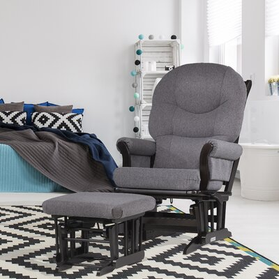 Dutailier Ultramotion Multi-Position Recline Sleigh Glider with Rounded Cushion and Ottoman