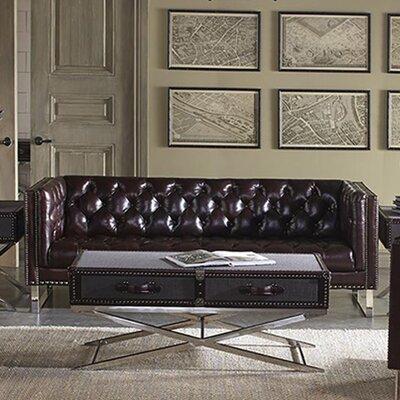 Lazzaro Leather Bordeaux Leather Sofa