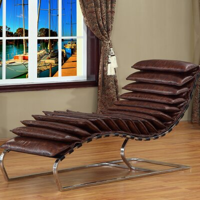 Lazzaro Leather Rino Leather Chaise Lounge