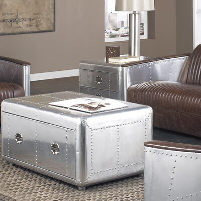 Lazzaro Leather Lindbergh Bomber Coffee Table Set
