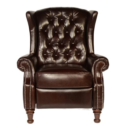 Lazzaro Leather Francis Tufted Leather Wingback Recliner