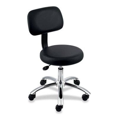 Lorell Pneumatic Height Stool with Back