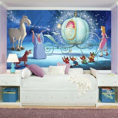 Room mates disney princess cinderella carriage chair rail for Cinderella wall mural