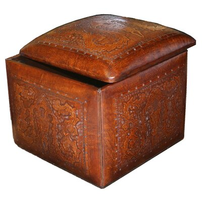 New World Trading Colonial Leather Box Cube Ottoman