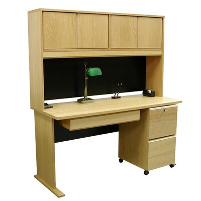 Rush Furniture Modular Real Oak Wood Veneer Standard Desk with Hutch